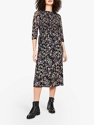 Oasis Smocked Floral Print Midi Dress, Blue/Multi