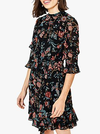 Oasis Floral Skater Dress, Black/Multi