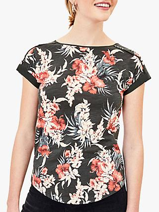 Oasis Floral Print T-Shirt, Green/Multi