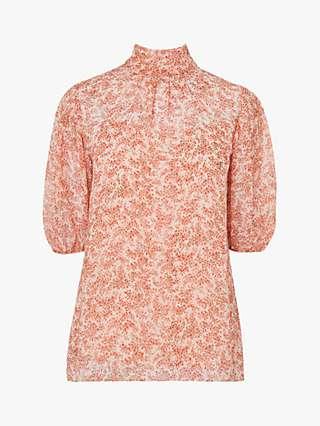 L.K.Bennett Susie Floral Silk Blouse, Pri-cream