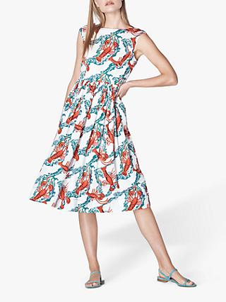 L.K.Bennett Issie Lobster Print Cotton Sun Dress, White