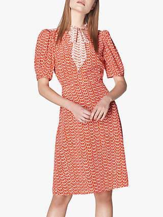 L.K.Bennett Asa Tie Neck Tea Dress, Red/Multi