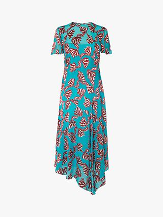 L.K.Bennett Porter Devoré Bow Midi Dress, Teal