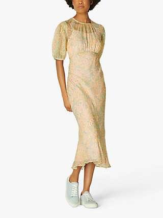 L.K.Bennett Susie Silk Dress, Aquamarine
