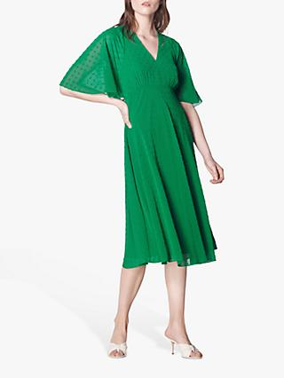 L.K.Bennett Claud Spot Pattern Tea Dress, Fern Green