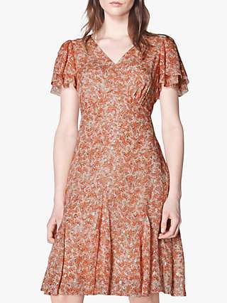 L.K.Bennett Cecilia Silk Blend Dress, Cream/Red