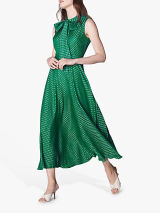 L.K.Bennett Connie Spot Midi Dress, Emerald Green