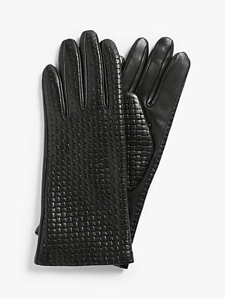 John Lewis & Partners Cashmere Lined Weave Pattern Leather Gloves, Black