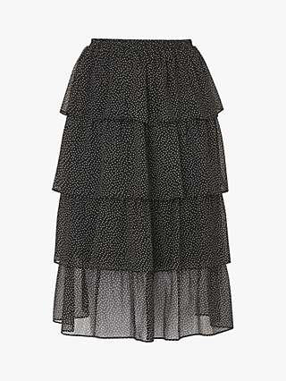 L.K. Bennett Betty Spot Tiered Skirt, Black/Cream