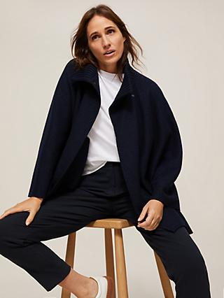 Modern Rarity Rib Neck Cape Coatigan, Navy