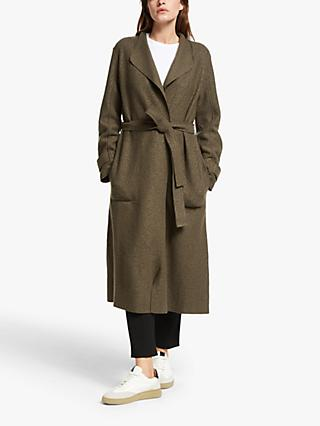 Modern Rarity Long Belted Tab Sleeve Coatigan, Khaki
