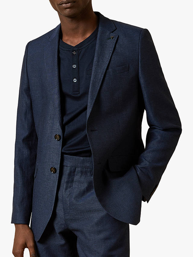 Buy Ted Baker Hoop Linen Blend Blazer, Navy, XS Online at johnlewis.com