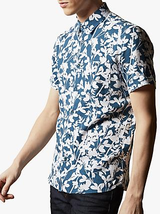 Ted Baker Smore Short Sleeve Floral Shirt, Blue Teal