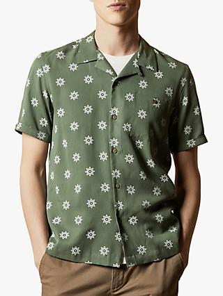 Ted Baker Raingo Revere Collared Floral Shirt, Khaki