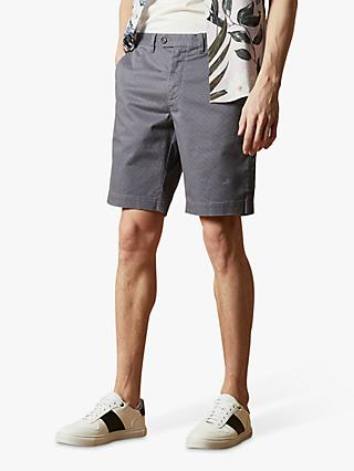 Ted Baker Acqua Geo Print Cotton Shorts, Blue Mid