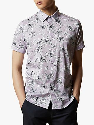 Ted Baker Bonfire Short Sleeve Floral Shirt, Purple Lilac