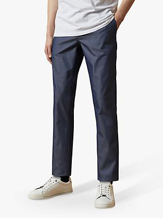 Ted Baker Telfone Straight Fit Chinos, Mid Blue