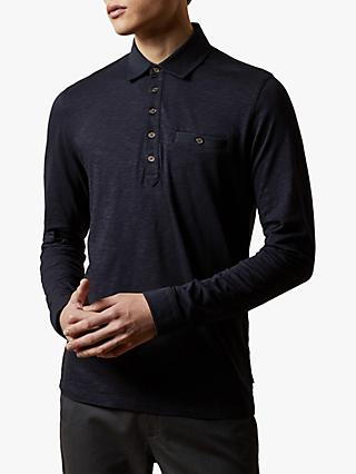 Ted Baker Hatchoc Pocket Long Sleeve Polo Shirt, Navy Blue