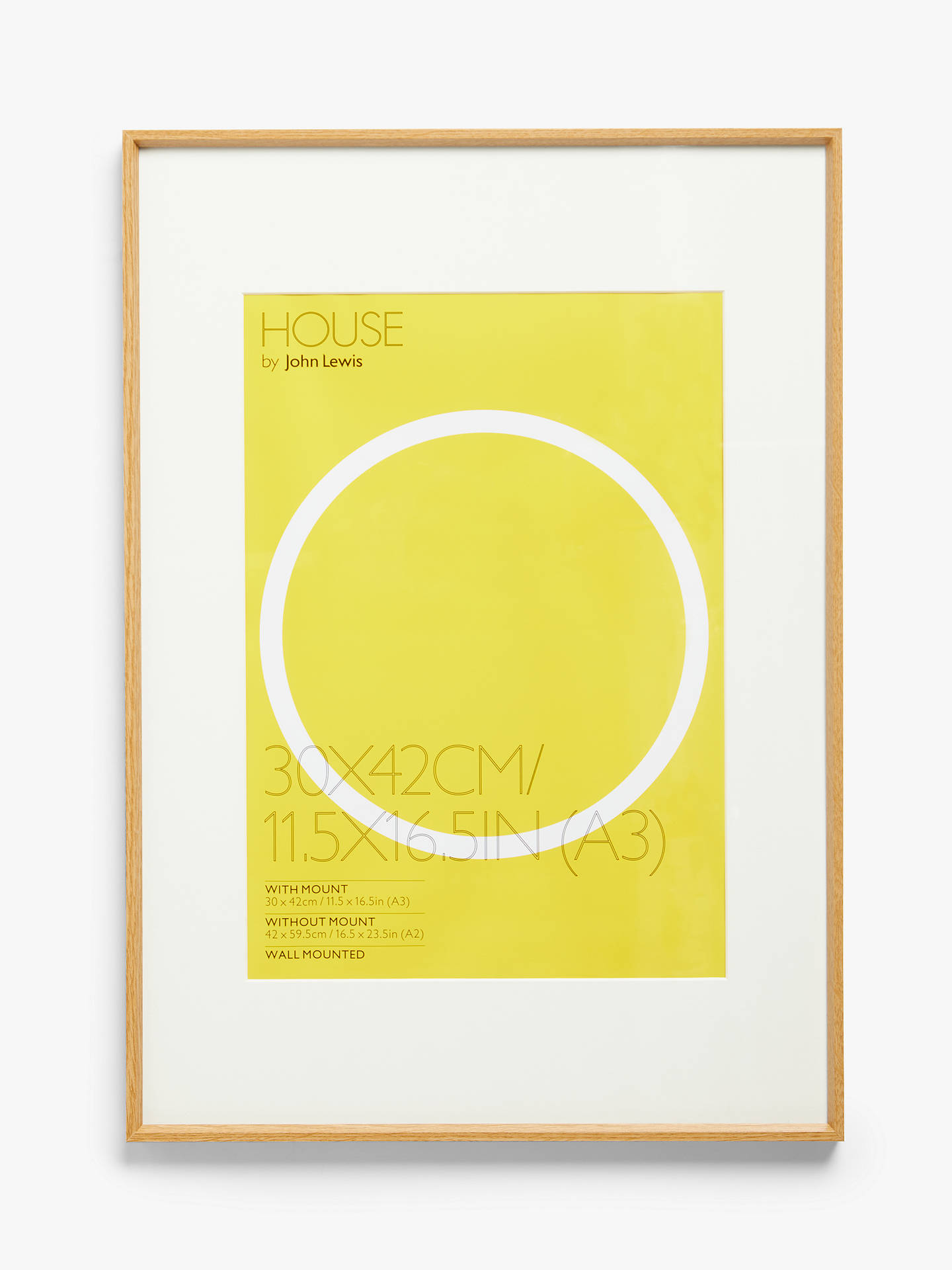 Buy House by John Lewis Aluminium Poster Frame & Mount, Oak Effect A3 (29 x 42cm) Online at johnlewis.com