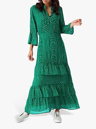 Brora Star Silk Embroidered Maxi Dress, Emerald