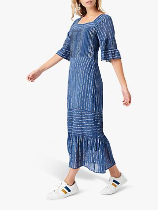 Brora Silk Pintuck Abstract Maxi Dress, Mussel & White