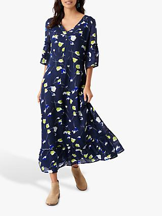 Brora Tulip Print Linen Dress, Navy/Lime