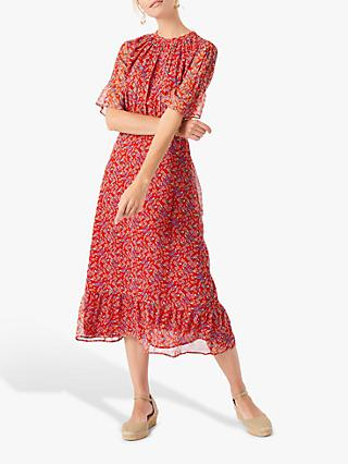 Brora Liberty Print Silk Chiffon Midi Dress, Poppy Floral