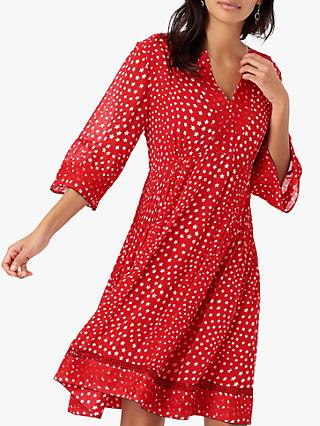 Brora Star Silk Embroidered Mini Dress, Poppy