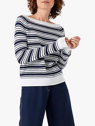 Brora Cotton Stripe Boat Neck Jumper