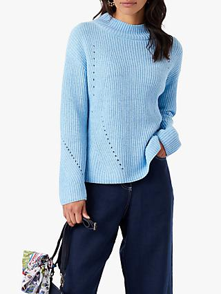 Brora Ribbed Funnel Neck Cotton Jumper