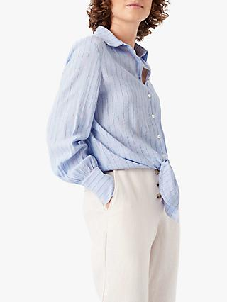 Brora Tie Front Striped Shirt, Sky/Watermelon