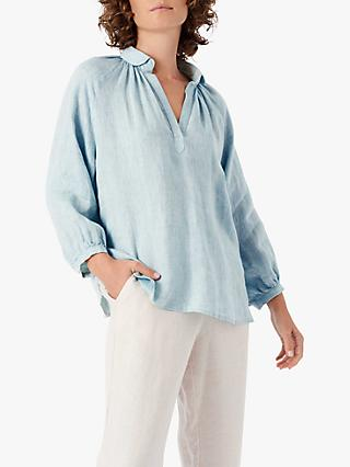 Brora Smock Linen Blouse, Sea Holly