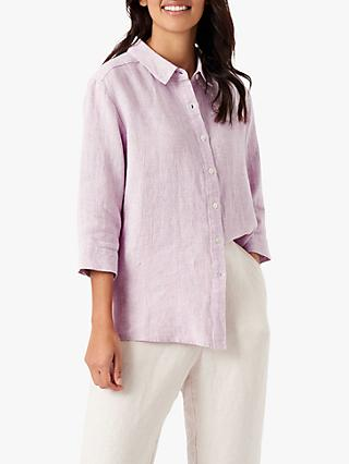 Brora Houndstooth Linen 3/4 Length Sleeve Shirt