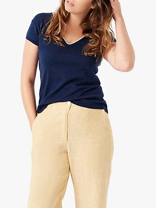 Brora Metallic V-Neck T-Shirt, Navy