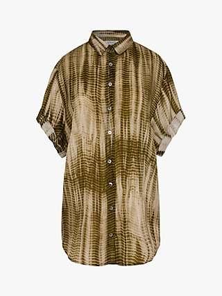 Gerard Darel Nalini Abstract Print Silk Blouse, Khaki