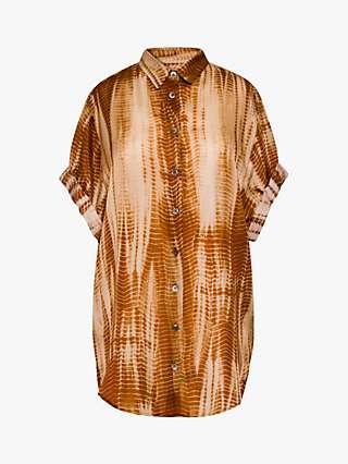 Gerard Darel Nalini Abstract Print Silk Blouse, Brown