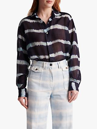 Gerard Darel Naaz Abstract Stripe Blouse, Blue/White