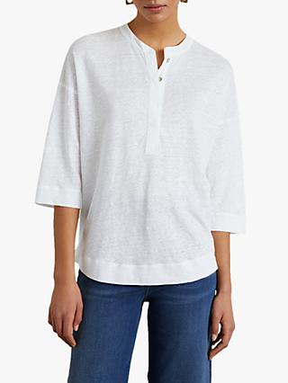 Jigsaw Placket 3/4 Length Sleeve Linen Shirt, White