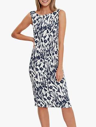 Gina Bacconi Erline Floral Print Shift Dress, Navy/White
