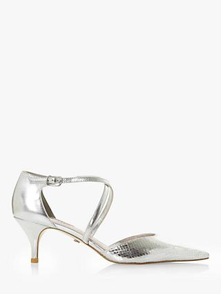 Dune Carta Leather Kitten Heel Court Shoes, Silver