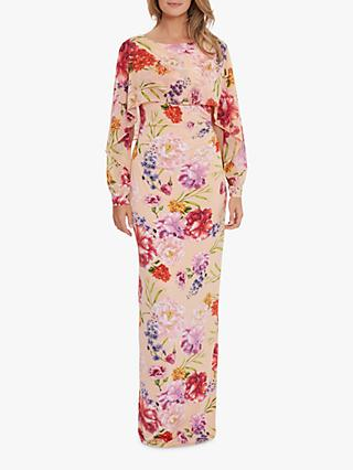Gina Bacconi Gracey Chiffon Floral Print Maxi Dress, Blush Rose/Green