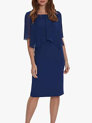 Gina Bacconi Wanita Chiffon Cape Dress