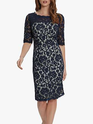 Gina Bacconi Selina Embroidered Midi Dress, Navy