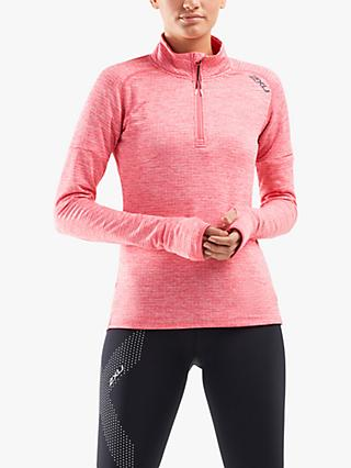 2XU Pursuit Thermal 1/4 Zip Training Top, Pink Lift/Silver Reflective