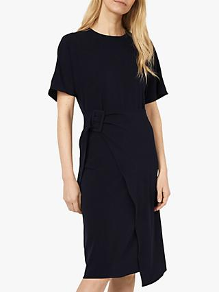Warehouse Wrap Buckle Dress, Navy