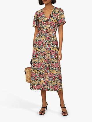 Warehouse Floral Button Down Dress, Multi