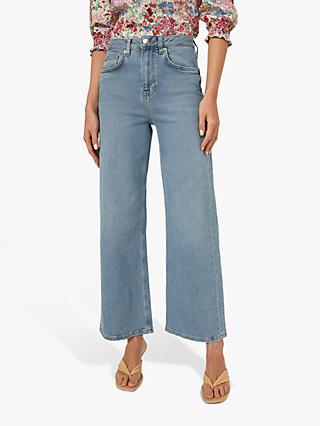 Warehouse Wide Leg Jeans, Light Wash Denim