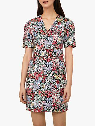 Warehouse Belted Floral Dress, Multi