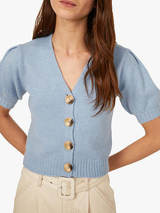 Buy Warehouse Cosy Puff Sleeve Cardigan, Light Blue, 18 Online at johnlewis.com
