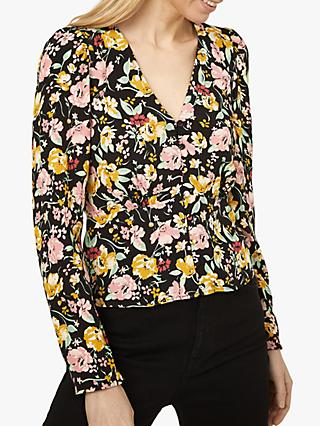 Warehouse Riviera Floral Blouse, Black Pattern